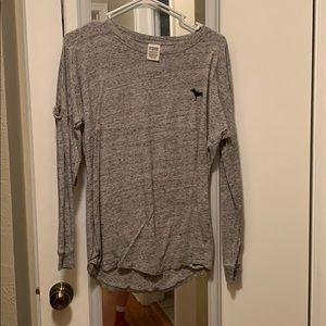 Grey pink long sleeve shirt